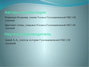 Авторы презентации Репринцев Владимир, ученик 9 класса Гусельщиковской ОШ I-I