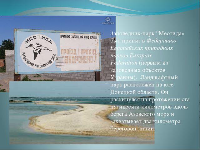 """Заповедник-парк """"Меотида» был принят вФедерацию Европейских природных парков..."""