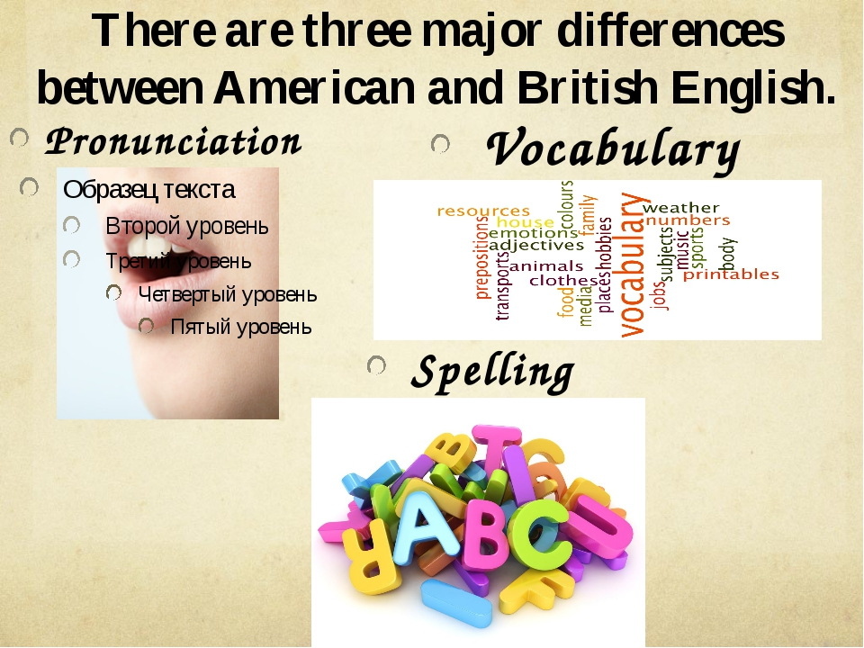 There are three major differences between American and British English. Pronu...