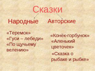 Сказки Народные Авторские «Конёк-горбунок» «Аленький цветочек» «Сказка о рыба
