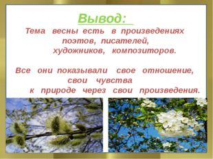 Вывод: Тема весны есть в произведениях поэтов, писателей, художников, компо