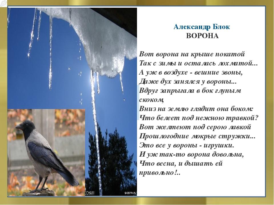 Александр Блок ВОРОНА Вот ворона на крыше покатой Так с зимы и осталась лохм...