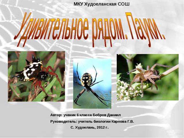МКУ Худоеланская СОШ Автор: ученик 6 класса Бобров Даниил Руководитель: учите...