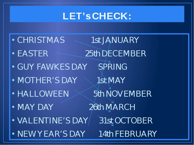 LET's CHECK: CHRISTMAS 1st JANUARY EASTER 25th DECEMBER GUY FAWKES DAY SPRING...