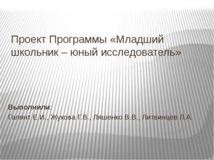Проект Программы «Младший школьник – юный исследователь» Выполнили: Галянт Е.