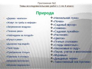 Приложение №2 Темы исследовательских работ с 1 по 4 класс: «Дерево- чемпион»