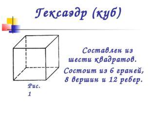 Гексаэдр (куб) Составлен из шести квадратов. Состоит из 6 граней, 8 вершин и