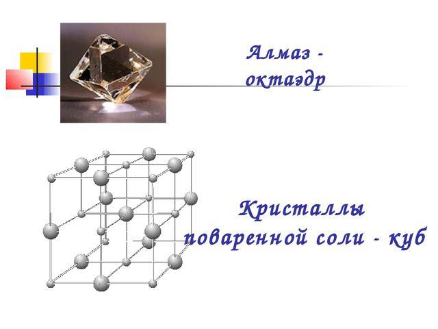 Алмаз - октаэдр Кристаллы поваренной соли - куб