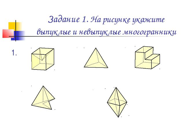 Задание 1. На рисунке укажите выпуклые и невыпуклые многогранники 1. 4. 3. 2....