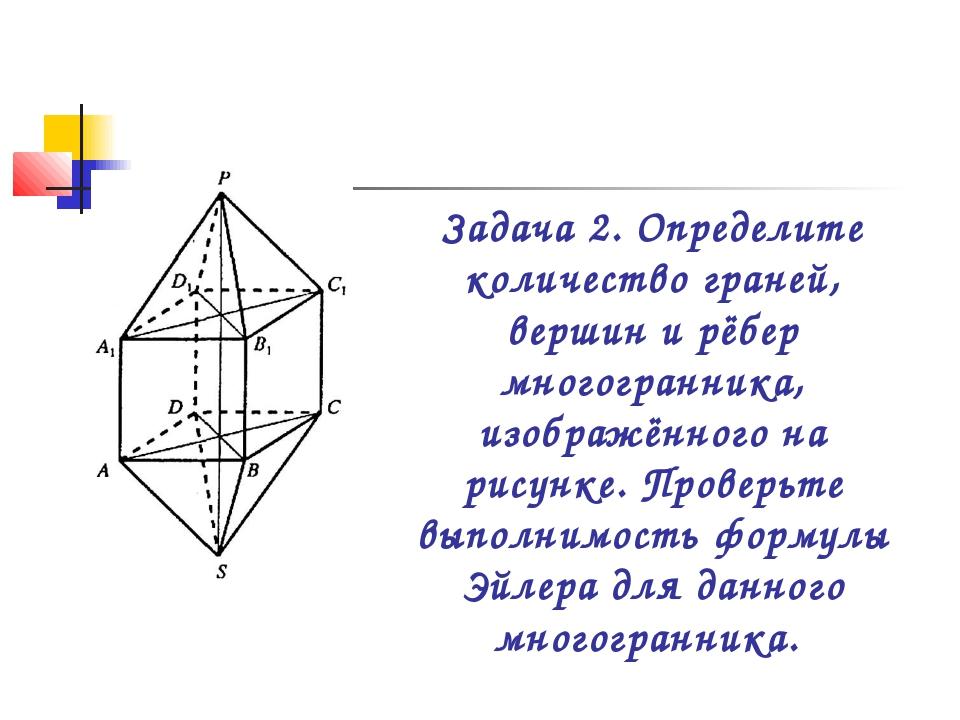 Задача 2. Определите количество граней, вершин и рёбер многогранника, изображ...