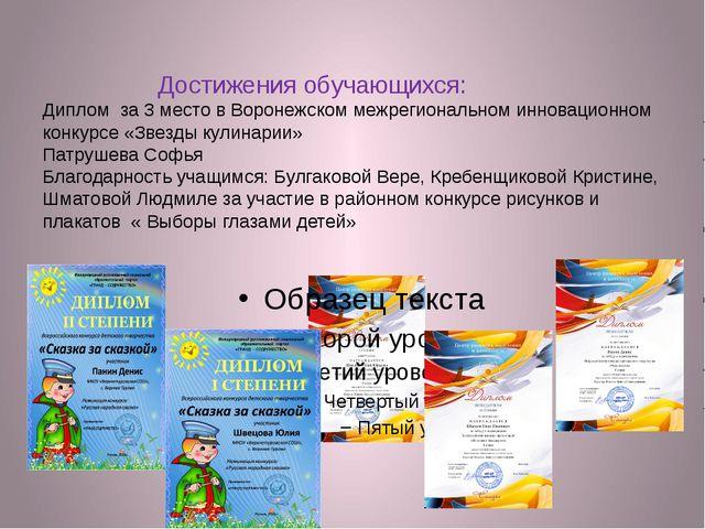 Достижения обучающихся: Диплом за 3 место в Воронежском межрегиональном инно...