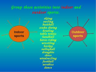 Group these activities into indoor and outdoor sports. skiing surfing basebal