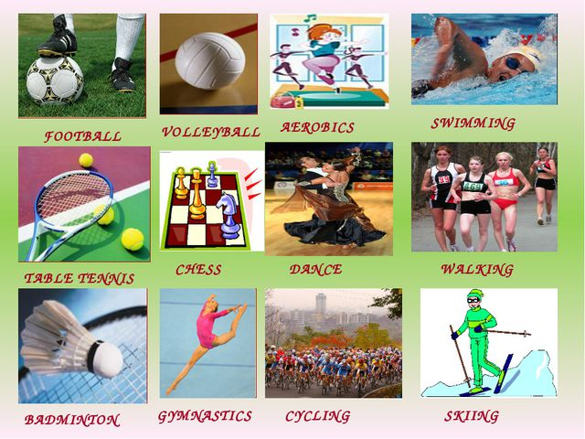 FOOTBALL TABLE TENNIS BADMINTON VOLLEYBALL CHESS GYMNASTICS AEROBICS DANCE CY...