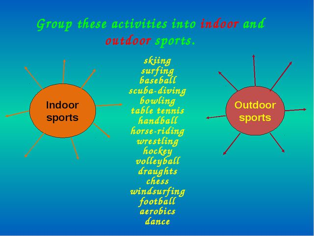 Group these activities into indoor and outdoor sports. skiing surfing basebal...