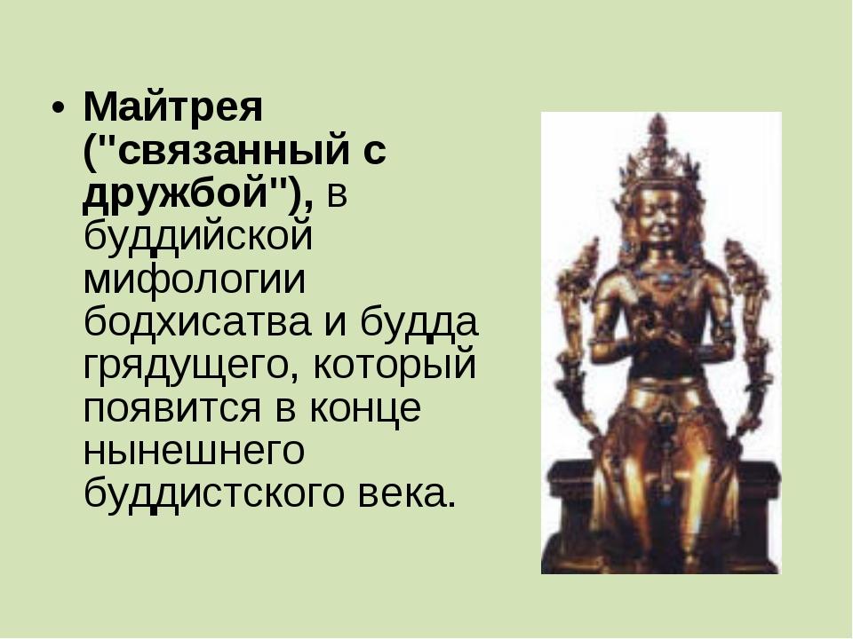 """Майтрея (""""связанный с дружбой""""), в буддийской мифологии бодхисатва и будда гр..."""