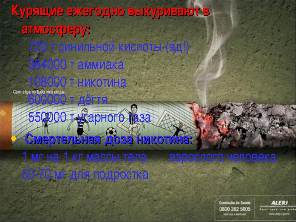 Курящие ежегодно выкуривают в атмосферу: 720 т синильной кислоты (яд!) 38...