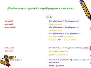 Правописание корней с чередующимся гласными А-О -гар-(гор) -зор-(зар) -клан-