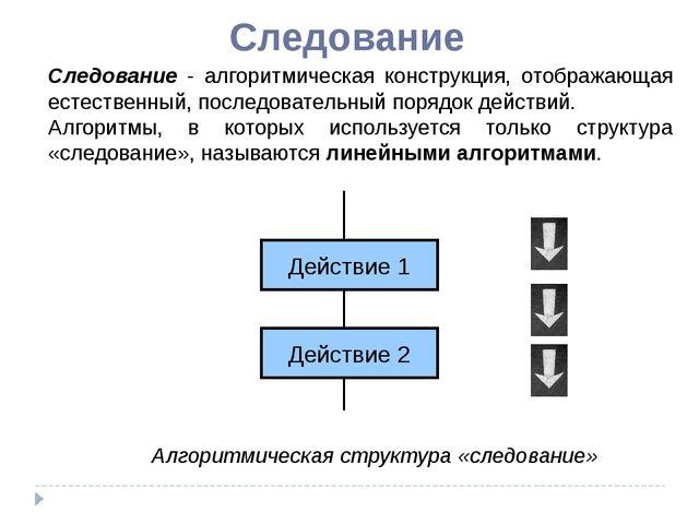 Следование Следование - алгоритмическая конструкция, отображающая естественны...