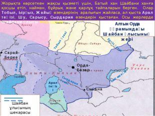 Алтын Орда құрамындағы Шайбан ұлысының жері Шайбан ұлысының шекарасы Орда-Баз