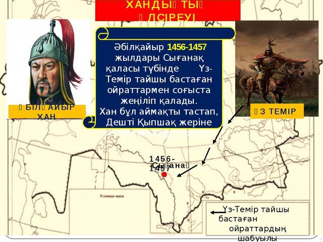 ХАНДЫҚТЫҢ ӘЛСІРЕУІ Сығанақ 1456-1457 Үз-Темір тайшы бастаған ойраттардың шабу...
