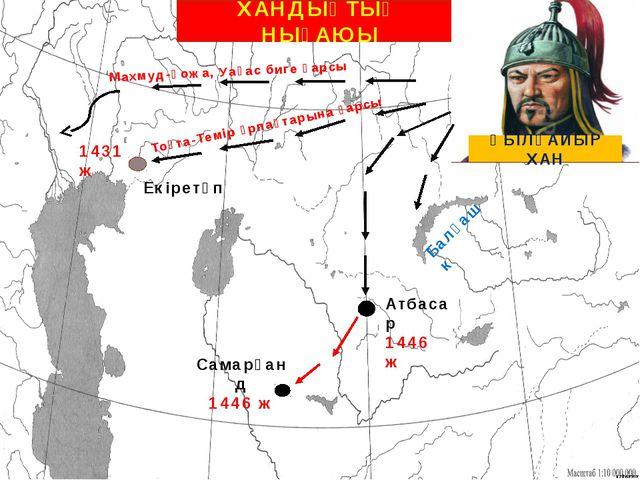 ХАНДЫҚТЫҢ НЫҒАЮЫ ӘБІЛҚАЙЫР ХАН Самарқанд 1446 ж Атбасар 1446 ж Балқаш к Тоқта...