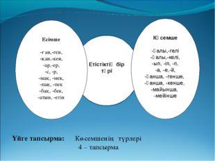 Етістіктің бір түрі Көсемше -ғалы,-гелі -қалы,-келі, -ып, -іп, -п, -а, -е,-й,