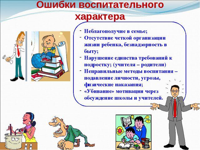 Ошибки воспитательного характера Неблагополучие в семье; Отсутствие четкой ор...