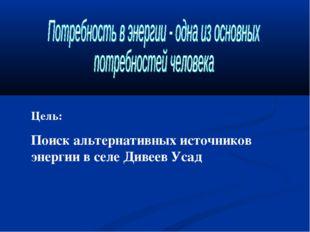 Цель: Поиск альтернативных источников энергии в селе Дивеев Усад