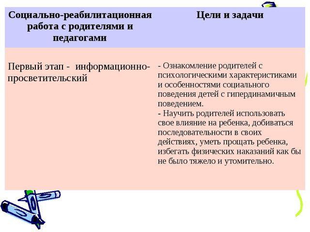 Социально-реабилитационная работа с родителями и педагогамиЦели и задачи Пер...
