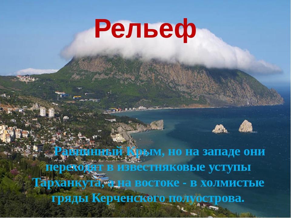 Рельеф Равнинный Крым, но на западе они переходят в известняковые уступы Тарх...