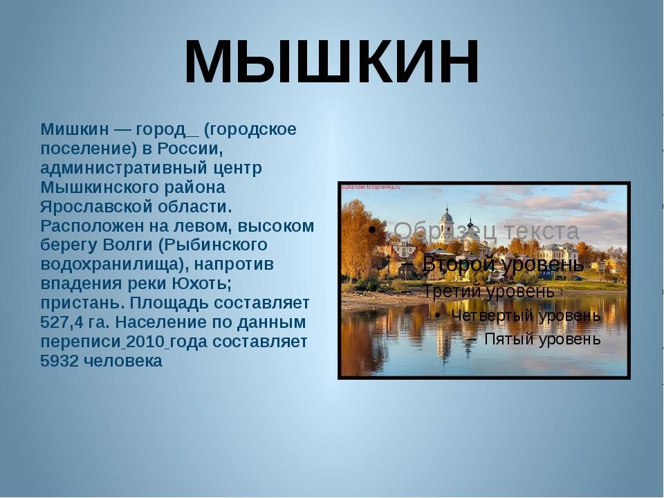 МЫШКИН Мишкин — город (городское поселение) в России, административный центр...