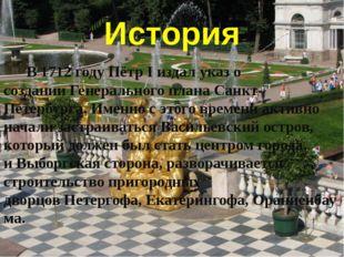 История В 1712 году Пётр I издал указ о созданииГенерального плана Санкт-Пет
