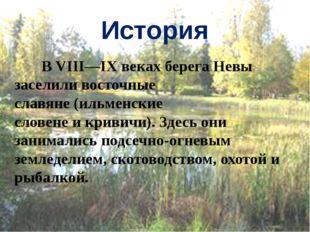 История В VIII—IX веках берега Невы заселиливосточные славяне(ильменские сл