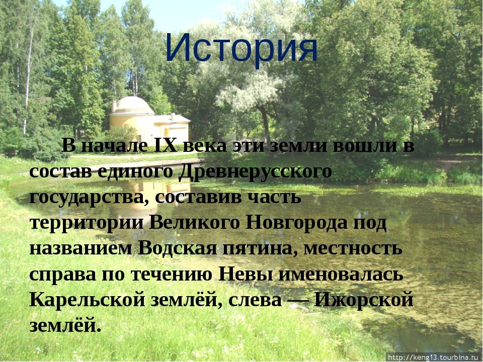 История В начале IX века эти земли вошли в состав единого Древнерусского госу...