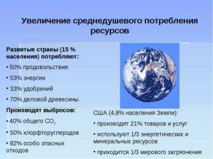 Увеличение среднедушевого потребления ресурсов Развитые страны (15 % населени
