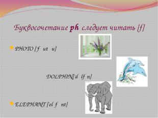 Буквосочетание ph следует читать [f] PHOTO ['fəutəu] DOLPHIN['dɔlfɪn] ELEPHA