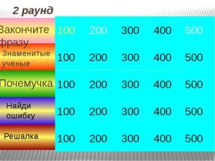 3 раунд 100 100 100 100 100 400 300 200 400 300 200 500 500 400 300 200 500 2