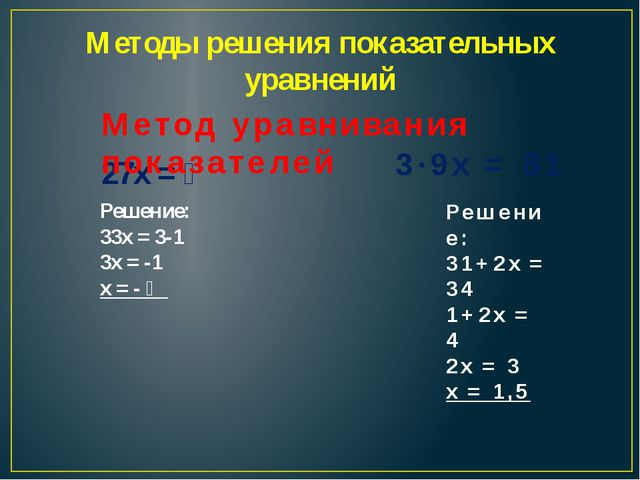 Методы решения показательных уравнений 27х = ⅓ Решение: 33х = 3-1 3х = -1 х =...