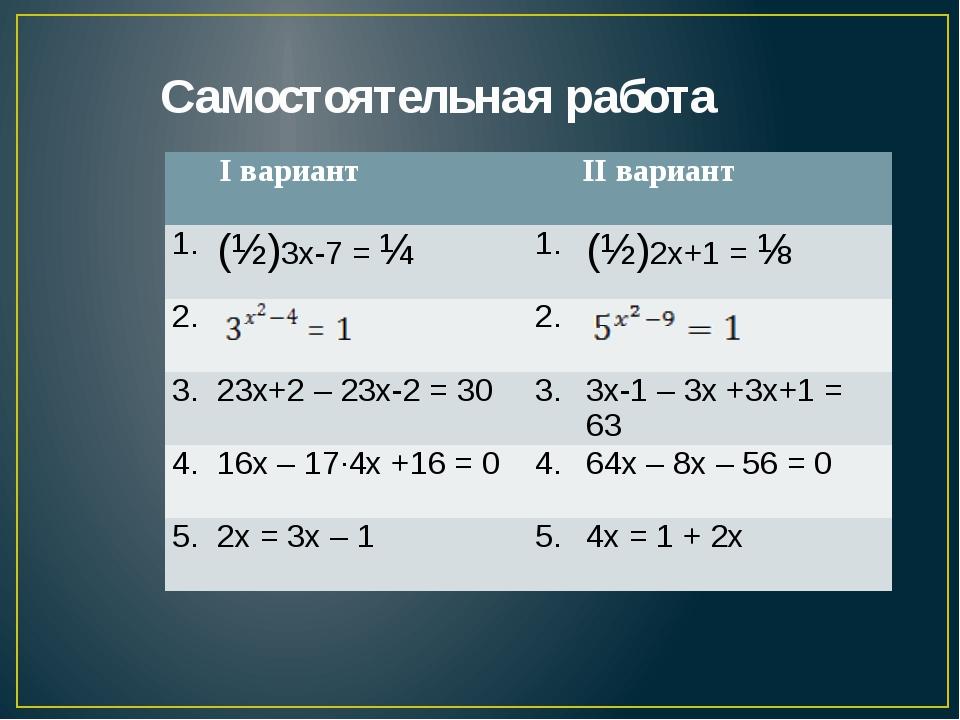 Самостоятельная работа Iвариант IIвариант 1. (½)3х-7=¼ 1. (½)2х+1=⅛ 2. 2. 3....