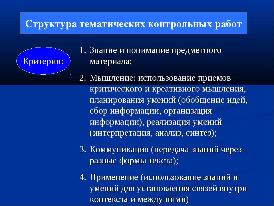 Структура тематических контрольных работ Критерии: Знание и понимание предмет...