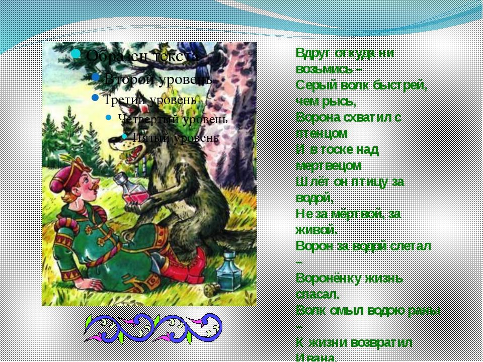 Вдруг откуда ни возьмись – Серый волк быстрей, чем рысь, Ворона схватил с пте...