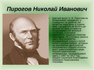 Пирогов Николай Иванович Краткий визит Н. И. Пирогова во Владикавказ предреши