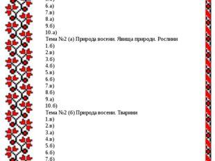 Правильні відповіді: 2 клас Тема №1Вступ 1.в) 2.б) 3.б) 4.б) 5.б) 6.а) 7.в)