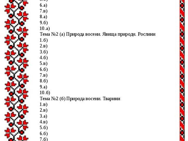 Правильні відповіді: 2 клас Тема №1Вступ 1.в) 2.б) 3.б) 4.б) 5.б) 6.а) 7.в)...