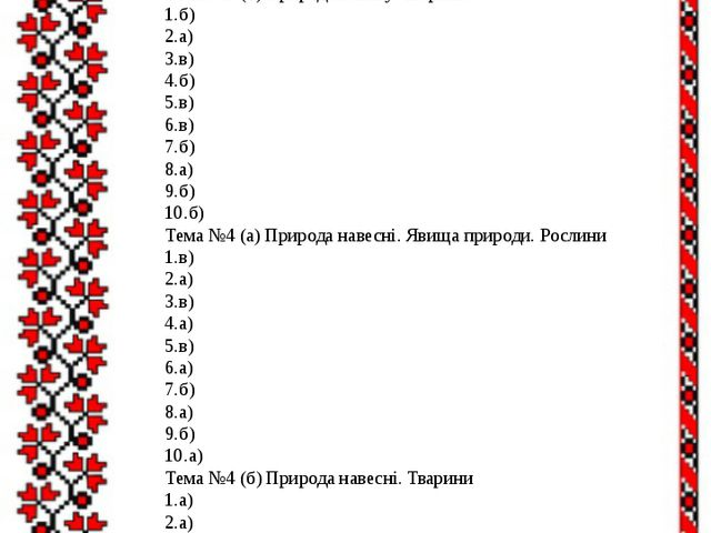 4.б) 5.б) 6.б) 7.а) 8.б) 9.а) 10.а) Тема №3 (б) Природа взимку. Тварини 1.б)...