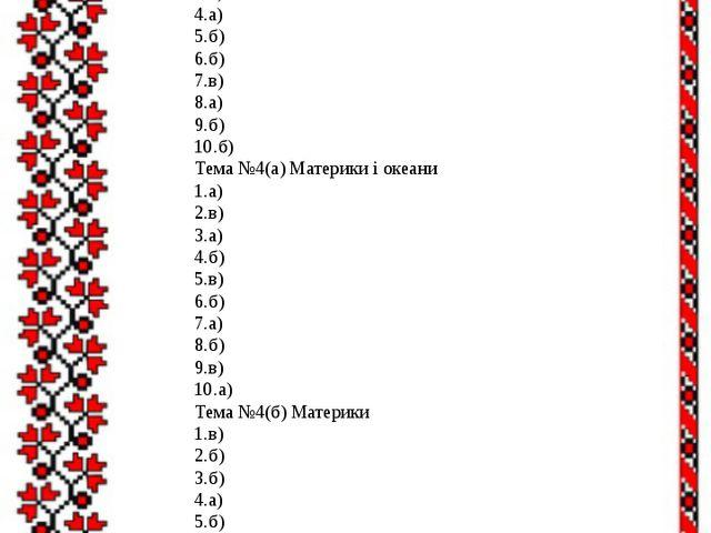 7.в) 8.б) 9.а) 10.в) Тема №3 План і карта 1.б) 2.а) 3.в) 4.а) 5.б) 6.б) 7.в)...