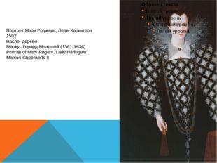 Портрет Мэри Роджерс, Леди Харингтон 1592 масло, дерево Маркус Герард Младший