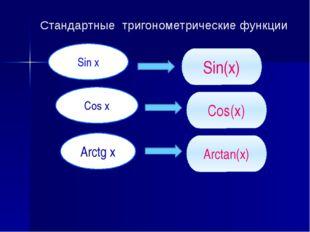Стандартные тригонометрические функции Sin x Cos x Arctg x Sin(x) Cos(x) Arct