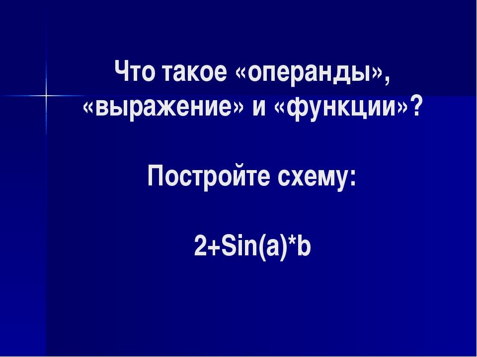 Что такое «операнды», «выражение» и «функции»? Постройте схему: 2+Sin(a)*b