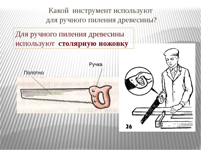 Какой инструмент используют для ручного пиления древесины? Полотно Ручка Для...